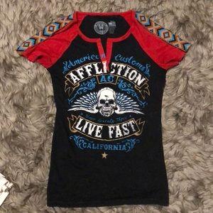 Affliction Graphic T Shirt Aztec Print Skull